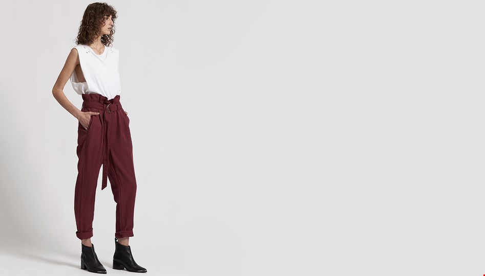 OXBLOOD LINEN HIGH WAIST SOHO PANTS